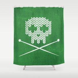 Knitted Skull - White on Deep Green Shower Curtain