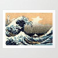 8-bit The Great Wave off Kanagawa Art Print