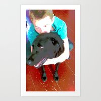 boy and dog Art Print
