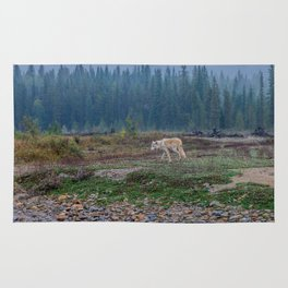 White Wolf in the Wilderness Rug