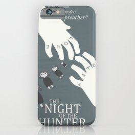 the night of the hunter, minimalist movie poster, Charles Laughton, Robert Mitchum, film wall art iPhone Case