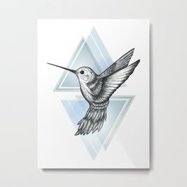 Hummingbird - Blue Metal Print