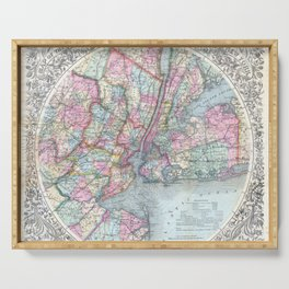 Antique New York City Map Serving Tray