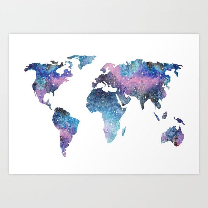 Galaxy world map art print by ccartstudio society6 galaxy world map art print gumiabroncs Image collections