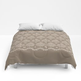 Coffee Color Damask Chenille with Lacy Edge Comforters