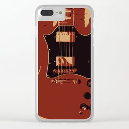 Red Electric Guitar Clear iPhone Case