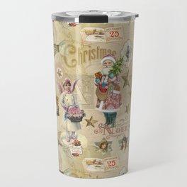 Vintage Christmas Collage Pattern Travel Mug