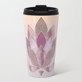 Elegant Glamorous Pink Rose Gold Lotus Flower Travel Mug