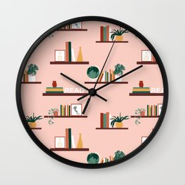 Floating Books on Shelves Wall Clock