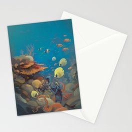 Retro Great Barrier Reef Australia Travel Poster Stationery Cards