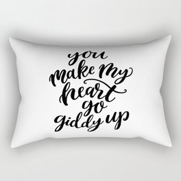 You make my heart go giddy up, Modern typography Rectangular Pillow