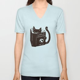 World Domination for Cats (Green) Unisex V-Neck