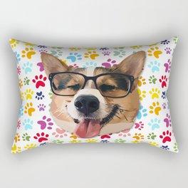 Corgi Dog with Glasses Rectangular Pillow