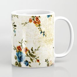 Cream Blue Yellow Floral Coffee Mug
