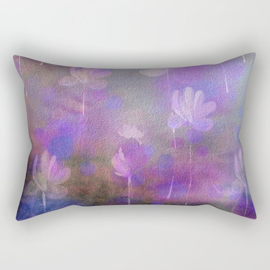 Painterly Dancing Violets Abstract Rectangular Pillow