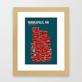 Minneapolis Map of Neighborhoods no. 1 Framed Art Print