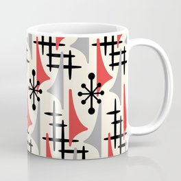 Mid Century Modern Atomic Wing Composition 234 Red and Gray Coffee Mug