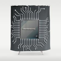 computer Shower Curtains featuring Computer Chip by Robin Curtiss