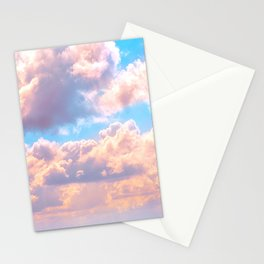 Beautiful Pink Cotton Candy Clouds Against Baby Blue Sky Fairytale Magical Sky Stationery Cards