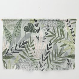 Lush Pastel Green Jungle Leaves Pattern Wall Hanging