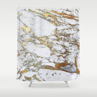 android Shower Curtains featuring Gold Marble by Jenna Davis Designs