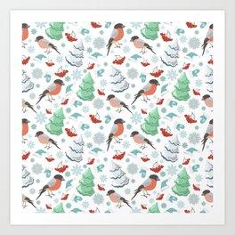 Winter birds white pattern Art Print
