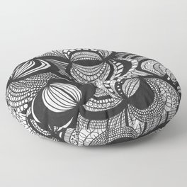 Circles and arcs drawing inspired by zentangle patterns Floor Pillow