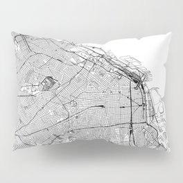 Buenos Aires White Map Pillow Sham