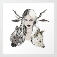 wolves Art Prints featuring Wolves by Clunaillustration