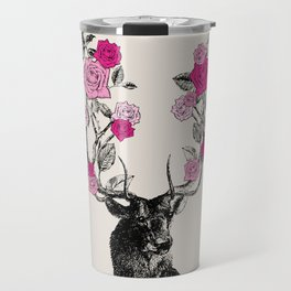 The Stag and Roses   Pink Travel Mug