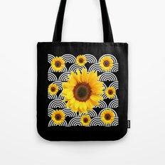 Decorative Black & Yellow Art Deco Sunflowers Tote Bag