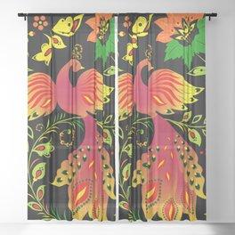 Fairy tale khokhloma bird Sheer Curtain
