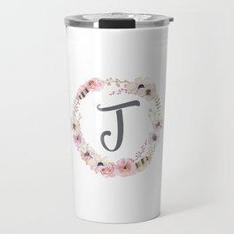 Floral Wreath - J Travel Mug