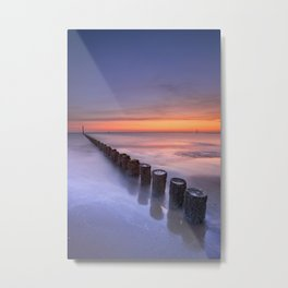 Breakwater on the beach at sunset in Zeeland, The Netherlands Metal Print