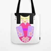 sakura Tote Bags featuring Sakura by Sreetama Ray