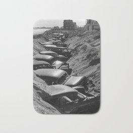 Cars Buried at Andrea Hotel - Misquemicut Beach, Westerly Rhode Island after 1954 Hurricane Carol Bath Mat