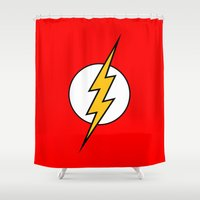 flash Shower Curtains featuring Flash by Merioris