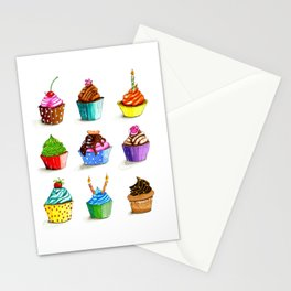 Illustration of tasty cupcakes Stationery Cards