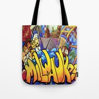 milwaukee Tote Bags featuring MILWAUKEE: heartMilwaukee by Amanda Iglinski