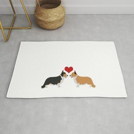 Pembroke Welsh Corgi Dogs Art - two corgis in love Rug