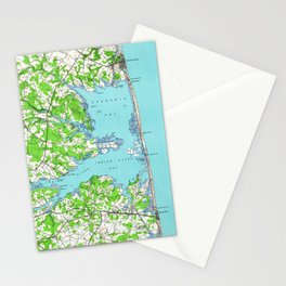 Vintage Rehoboth & Bethany Beach DE Map (1938) Stationery Cards