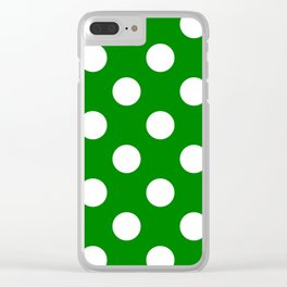 Large Polka Dots - White on Green Clear iPhone Case