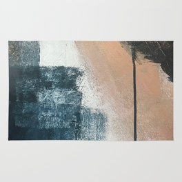 Honey 1: a pretty, minimal abstract in midnight blue, rose gold, and white Rug