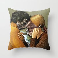 eugenia loli Throw Pillows featuring A Creek Between Us by Eugenia Loli