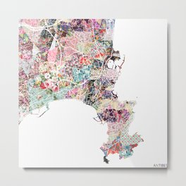 Antibes map Metal Print