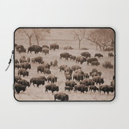 Buffalo Herd in Sepia Laptop Sleeve