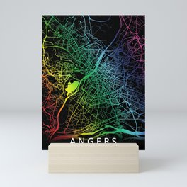 Angers, France, City, Map, Rainbow, Map, Art, Print Mini Art Print