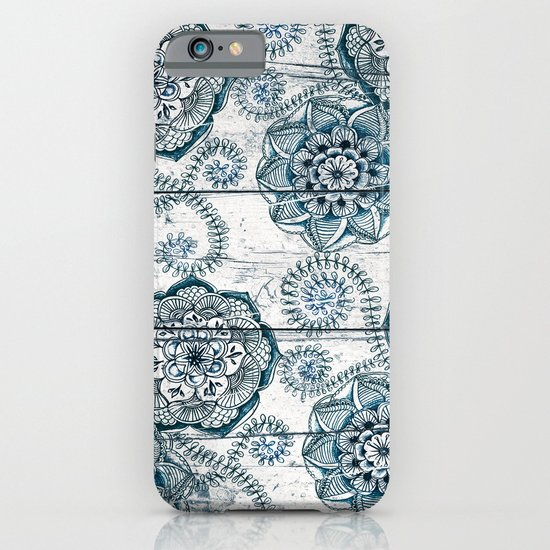 Navy Blue Floral Doodles on Wood iPhone & iPod Case