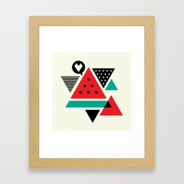 Watermelon Geometic Triangles Framed Art Print