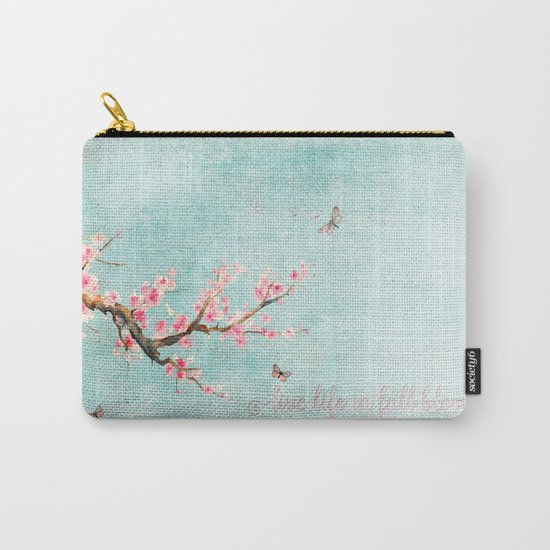 Live life in full bloom - Romantic Spring Cherryblossom butterfly Watercolor illustration on aqua Carry-All Pouch